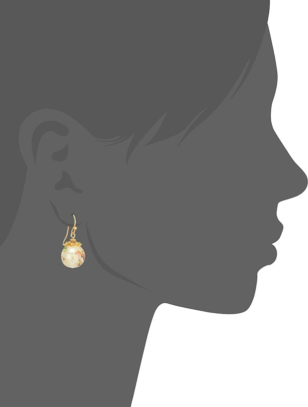Gold Tone Floral Pearl Decal Wire Drop Earrings