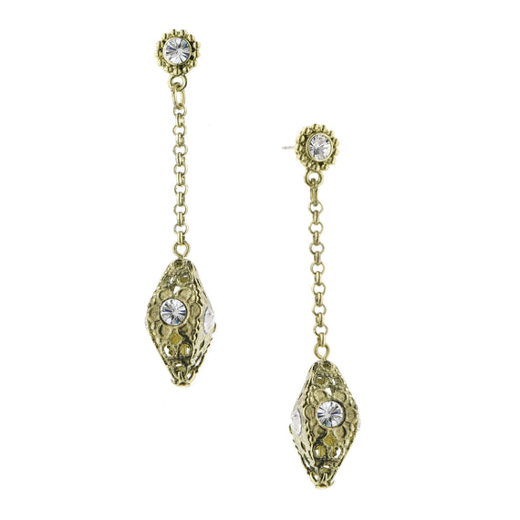 Brass Crystal Drop Earrings