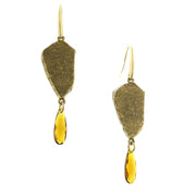 14K Gold Dipped Hippekaya Drop Nugget With Topaz Color Briolette Earrings