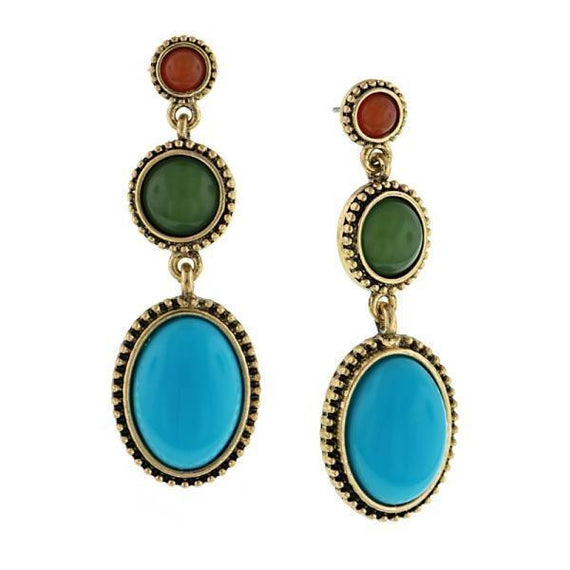 Gold-Tone Orange Green and Turquoise Drop Earrings
