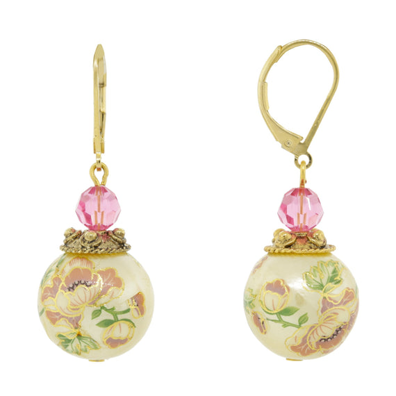 Gold Tone Flower Decal Costume Pearl with Pink crystal Drop Earring