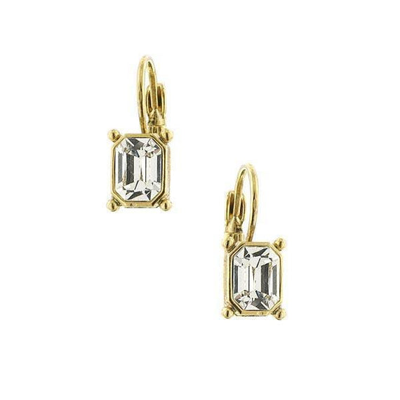 Gold-Tone Crystal Octagon Drop Earrings