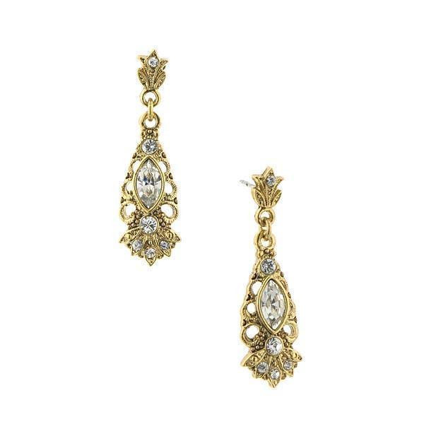 Gold Tone Crystal Navette Drop Earrings