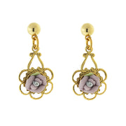 Gold-Tone Porcelain Rose Drop Earrings White