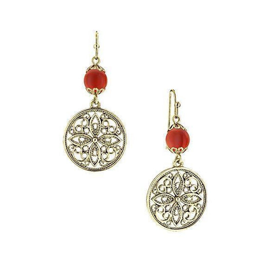 Gold-Tone Carnelian Filigree Drop Earrings