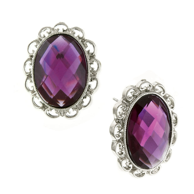Silver-Tone Purple Stone Faceted Oval Button Earrings