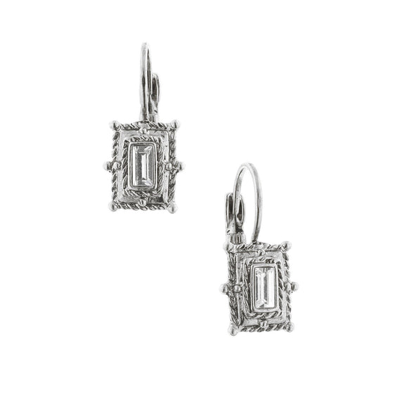 Silver-Tone Crystal Square Drop Earrings