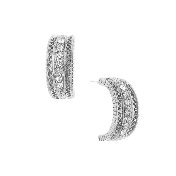 Silver-Tone And Crystal Hoop Earrings