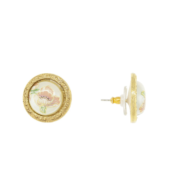 Gold Tone Flower Decal Costume Pearl Round Button Earrings