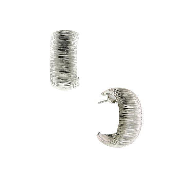 Silver-Tone Hoop With Brushed Finish Earrings