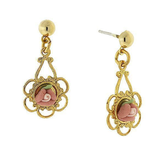 Gold-Tone Pink Rosebud Porcelain Rose Drop Earrings