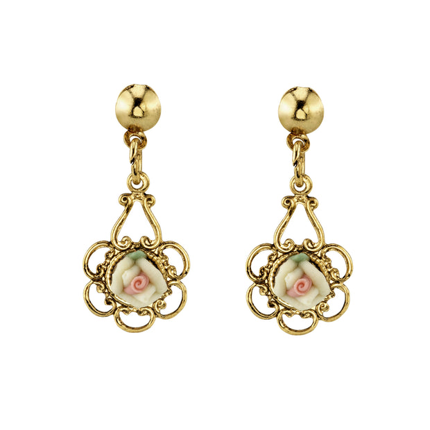 Gold-Tone Porcelain Rose Drop Earrings Pink