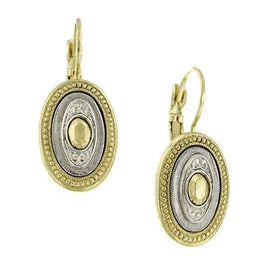 Signature Two Tone Oval Drop Earrings
