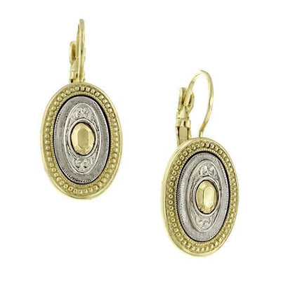Silver-Tone And Gold-Tone Oval Drop Earrings