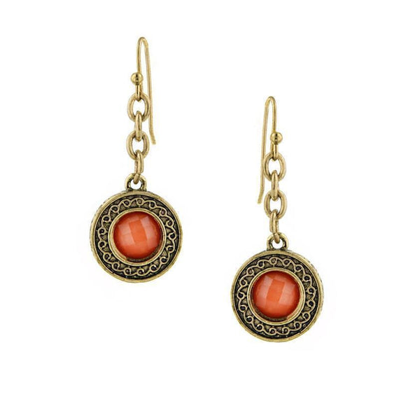 Gold-Tone Orange Drop Earrings