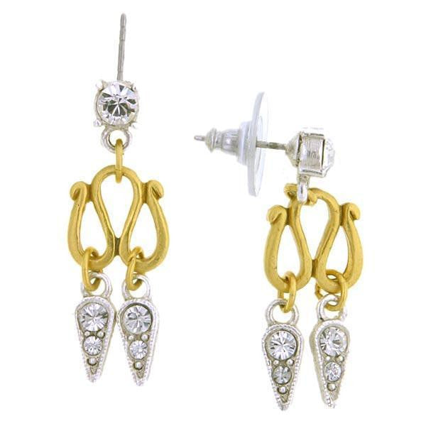 Gold Tone And Silver Tone Crystal 2 Drop Post Earrings