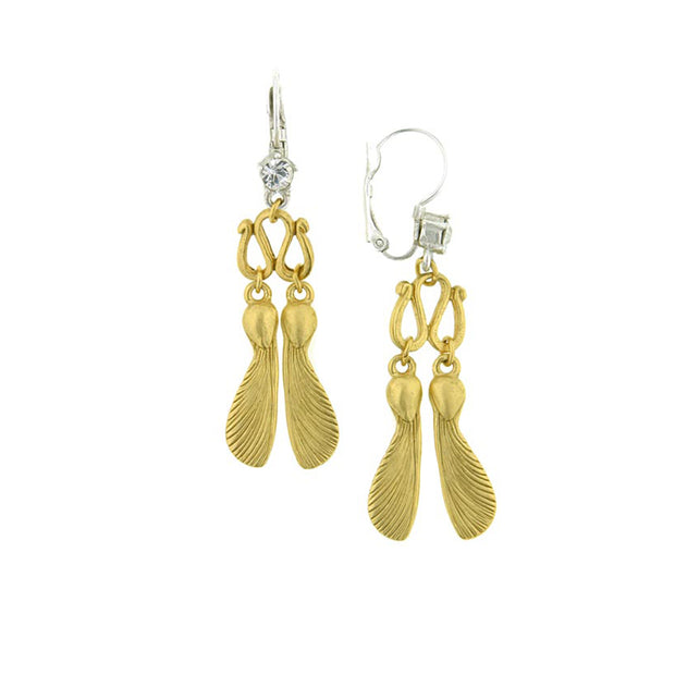 Silver-Tone and Gold-Tone Crystal Maple Seed Leverback Earrings