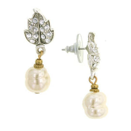 Silver-Tone Crystal Baroque Faux Pearl Drop Post Earrings