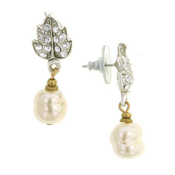 Silver-Tone Crystal Baroque  Costume Pearl Drop Post Earrings