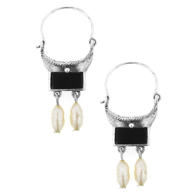 Silver Tone Black And Costume Pearl Hoop Drop Earrings