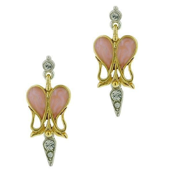 Gold Tone And Silver Tone Crystal And Light Pink Heart Enamel Drop Earrings