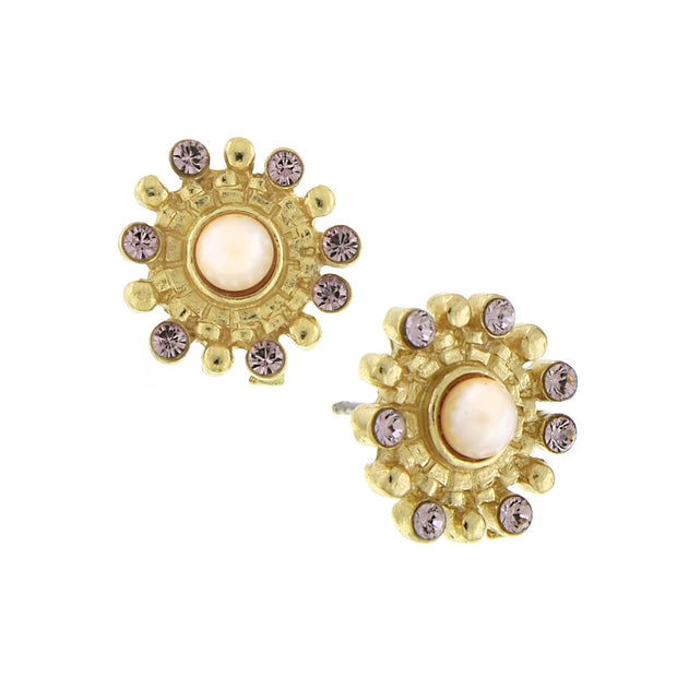 Gold Tone Purple And Pink Costume Pearl Button Earrings