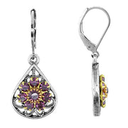 Pewter Crystal Flower Teardrop Leverback Earring Yellow
