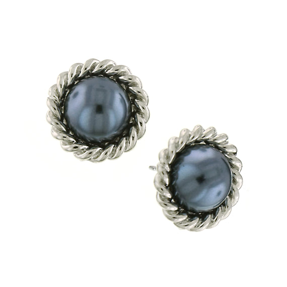 Signature Silver Tone Faux Grey Pearl Stud Earrings