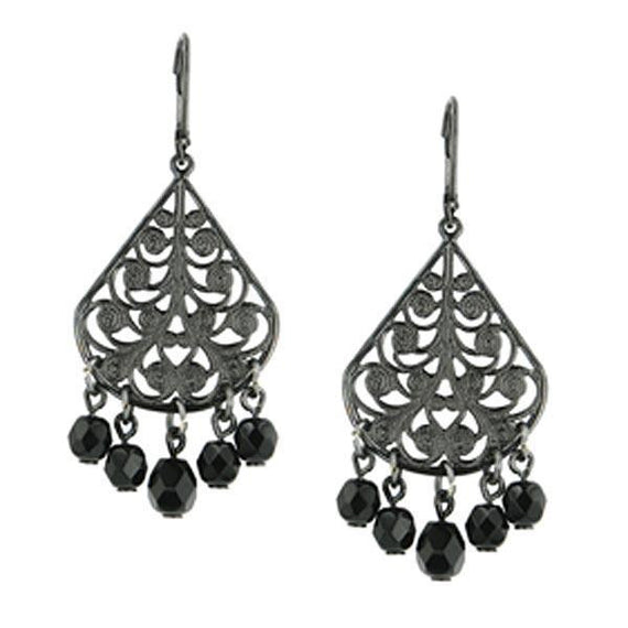 Fashion Jewelry - Bonne Nuit Beaded Floral Teardrop Earrings