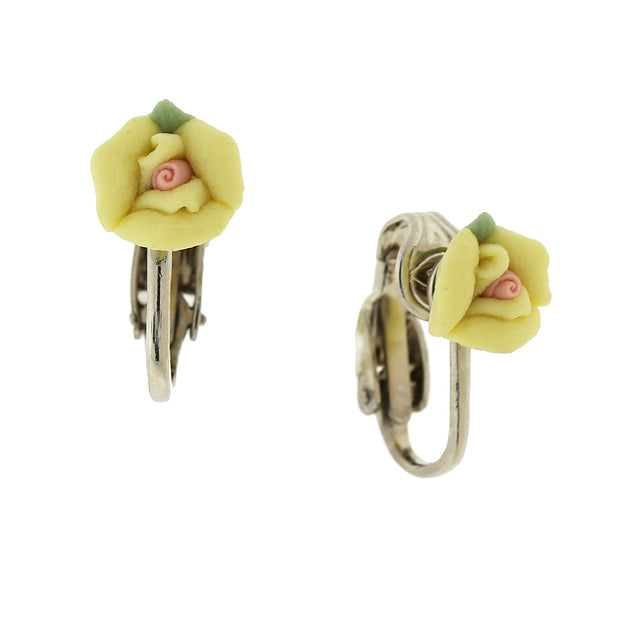 Silver-Tone Porcelain Rose Clip-on Earrings Yellow