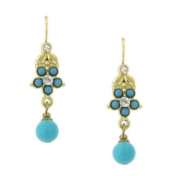 Gold-Tone Turquoise Color Flower and Bead Drop Earrings