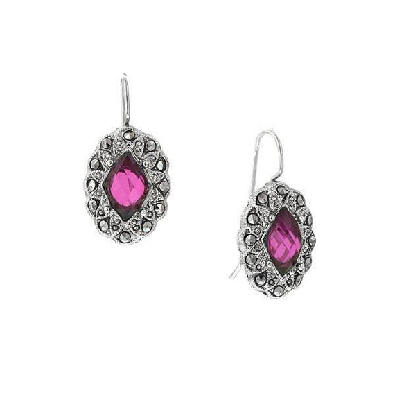 Silver Tone Fuchsia and Simulated Marcasite Oval Drop Earrings