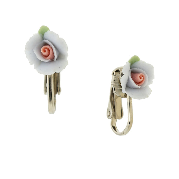 Silver-Tone Porcelain Rose Clip On Earrings