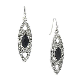 Silver Tone Black Art Deco Inspired Drop Earrings