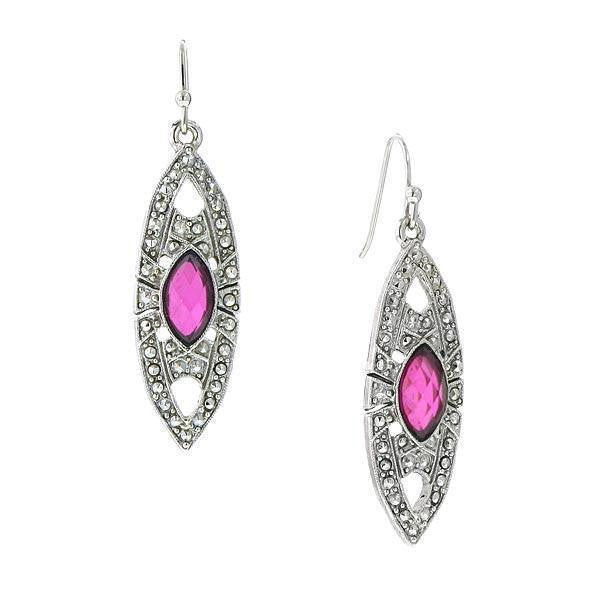 Silver Tone Fuchsia Drop Earrings