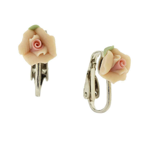 Peach Silver Tone Porcelain Rose Clip On Earrings