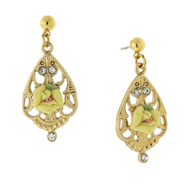Gold Tone Porcelain Rose W/Crystal Accent Filigree Drop Earrings