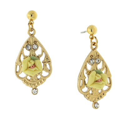 Gold Tone Porcelain Rose With Crystal Accent Filigree Drop Earrings