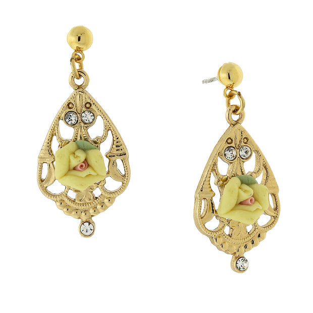 Gold-Tone Porcelain Rose With Crystal Accent Filigree Drop Earrings
