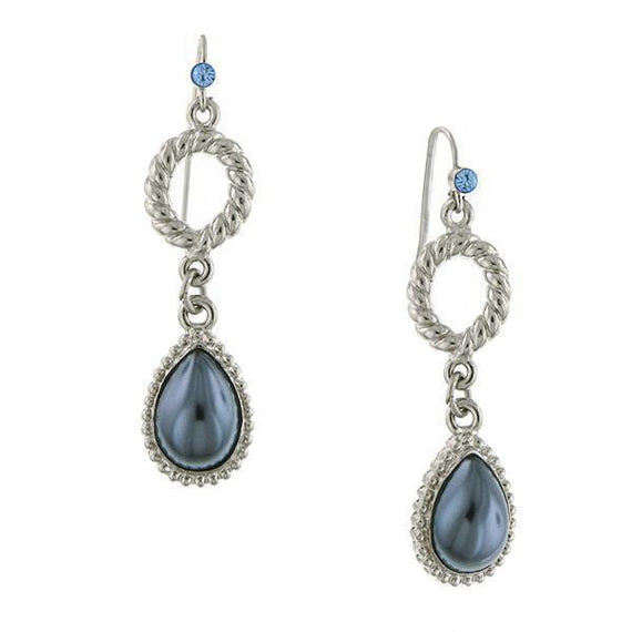 Silver-Tone Blue Crystal Gray Simulated Pearl Teardrop Earrings