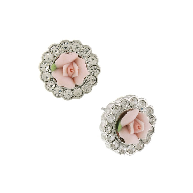 Silver Tone Crystal And Pink Porcelain Rose Button Earrings