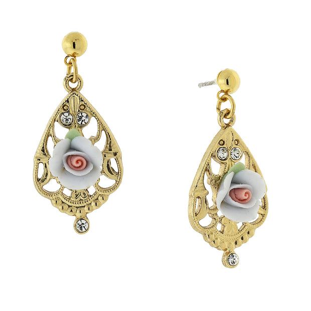 Gold Tone Porcelain Rose With Crystal Accent Filigree Drop Earrings Light Blue