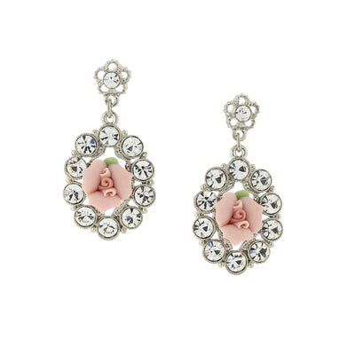 Silver Tone Crystal And Pink Porcelain Rose Drop Earrings