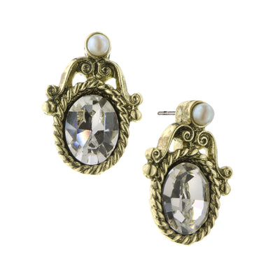 Gold-Tone Crystal And Costume Pearl Stud Earrings