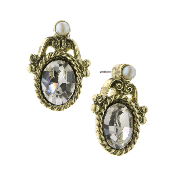 Gold Tone Crystal And Costume Pearl Stud Earrings