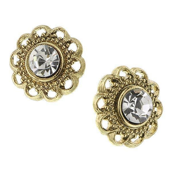 Gold-Tone Crystal Stud Earrings