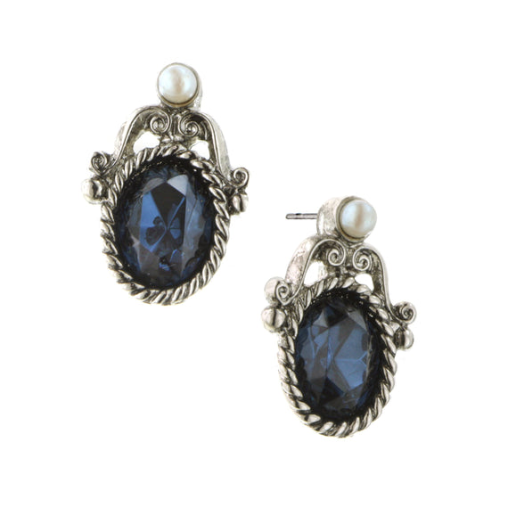 Silver-Tone Blue Stud with Simulated Pearl Accent Earrings