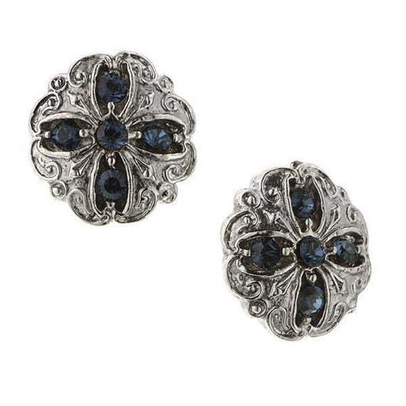 Silver-Tone Blue Stud Earrings