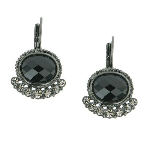 Jet With Black Oval Lever Back Earrings