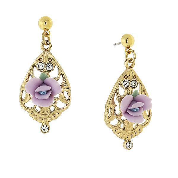 Gold Tone Lavender Porcelain Rose with Crystal Accent Filigree Drop Earrings